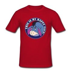 Comfortable Happy Face Eeyore Custom Design Mens Cotton T-shirt Tee