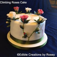 Sugarpaste climbing roses cake by Edible Creations by Rosey