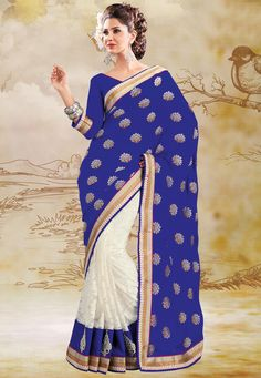 ec5a741f58a  Blue and  White Faux Chiffon and Net  Saree With Blouse    116.48 Latest