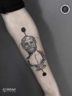 Demosthenes Sculpture Tattoo #sculpture #tattoo #linework