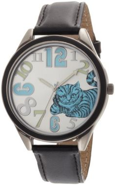 Alice in Wonderland Women's AL1002B Cheshire Cat Silver Dial Black Leather Strap Watch Disney, http://www.amazon.com/dp/B003D3YNL8/ref=cm_sw_r_pi_dp_rryLqb0S2MRYW