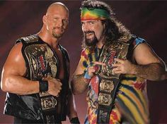 "WWF Tag Team Champions ""Stone Cold"" Steve Austin and Dude Love"
