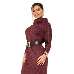 Платье-миди цельнокроенное из ангоры софт с напыление, широким воротником укороченными рукавами и поясом из эко-кожи в комплекте X9449 High Neck Dress, Sweaters, Dresses, Fashion, Turtleneck Dress, Vestidos, Moda, Fashion Styles, Sweater