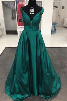 Dark Green Prom Dresses Long, A-line Formal Dresses V-neck, 2018 Evening Party Dresses Satin Sweep Train Ruffles