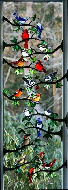 Stain glass window birds
