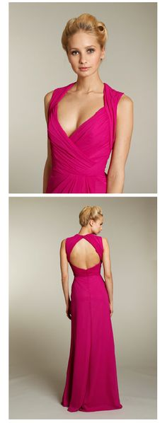 Fall 2011  Raspberry chiffon A-line bridesmaid gown, cross-over draped neckline, natural waist, open back, front slit on skirt  Style JH5183