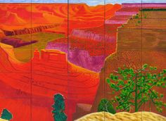 David Hockney, a closer Grand Canyon, 1998 (detail) David Hockney Landscapes, David Hockney Artist, David Hockney Paintings, Royal Academy Of Arts, Art Academy, Robert Rauschenberg, Edward Hopper, Landscape Art, Landscape Paintings