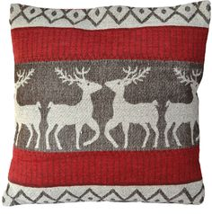 Red Deer Cream Winter Cushion Covers Cotton Chenille 18 inch 45cm Reindeer Stag in Home, Furniture & DIY, Home Decor, Cushions | eBay