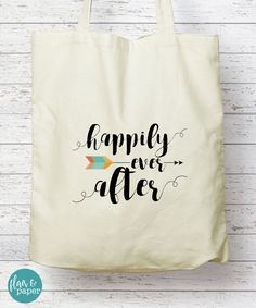 Boho Canvas Tote Bag, Canvas Tote bag, Happily ever after, Bridal Party Gift, Birthday gift, Graduation gift, Bridesmaid gift by FlairandPaper on Etsy