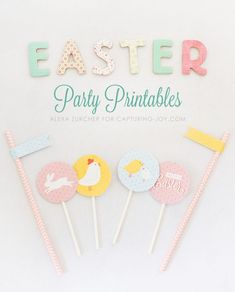 Easter Party Printables. Cute Easter cupcake toppers. www.kristenduke.com