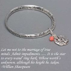 "$9.99 DR - Silver Tone Marriage ""Love"" Bracelet with Shakespear Quote WT, http://www.amazon.com/dp/B005GY9UC4/ref=cm_sw_r_pi_dp_YUBYqb14GDCB7"