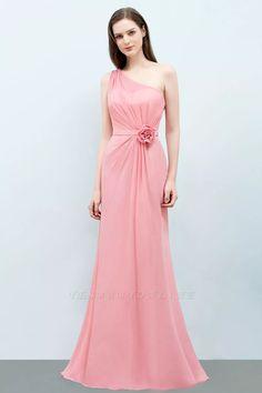 Mermaid One-shoulder Sleeveless Ruffled Floor-Length Bridesmaid Dresses with Flower   Yesbabyonline.com