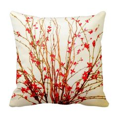 Red Flowers on branches on light tan / off white decorative accent pillow.  This pillow would be perfect for someone looking for a floral throw pillow but wants something delicate and not too overpowering.