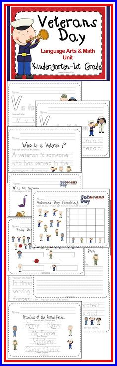 Veterans Day Language Arts & Math Unit (Kindergarten - 1st Grade) 37 pages http://www.teacherspayteachers.com/Product/Veterans-Day-Language-Arts-Math-Unit-Kindergarten-1st-Grade-953108