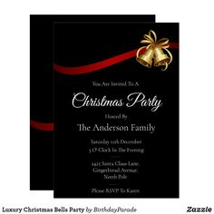 Luxury Christmas Bells Party Invitation Christmas Bells, Christmas Stockings, Christmas Decorations, Xmas, Christmas Party Invitations, Rudolph The Red, Red Nosed Reindeer, You Are Invited, Deck The Halls