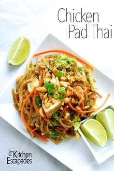 Chicken Pad Thai recipe is the best!  Gluten free rice noodles with all the sweet, sour, spicy flavors