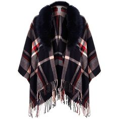 River Island Navy plaid faux fur trim tassel cape (3.795 RUB) ❤ liked on Polyvore featuring outerwear, coats, cape, cardigans, jackets, accessories, capes / ponchos, navy, women and faux fur trim cape
