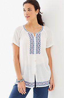 embroidered crinkled top