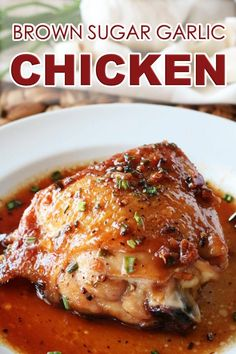 Brown Sugar Garlic Chicken is made with bone-in, skin-on chicken thighs, pan-seared until golden and crispy, then baked underneath a sticky-sweet Brown Sugar Garlic Sauce. Simple, Asian infused chicken is your family's new go-to weeknight dinner! #brownsugargarlicchicken #chicken #chickenrecipes #asian #dinner #dinnerideas #chickendinners