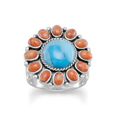 Tribal Turquoise & Orange Coral Sunburst Ring Oxidized sterling silver ring with a reconstituted turquoise and orange coral sunburst design. The turquoise stone is approximately 10mm, and is surrounde