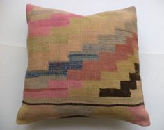 "20""x20"" inch KİLİM PİLLOW,Turkish Pastel Pink Kilim Rug Pillow Cover,Tribal Kelim Pillow,Oriental Kilim Rug Pillow,Oversize Pillow Cover."