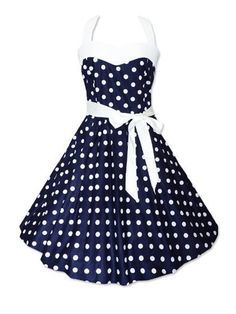 Ball Gown Polka Dot Vintage Bowknot Awesome Halter Skater Dress