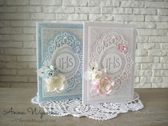 Handmade by Anna Wysocka: Komunia First Communion Cards, Scrapbook Cover, Christian Cards, Communion Invitations, New Baby Cards, Paper Flower Tutorial, Cricut Cards, Folded Cards, Kids Cards