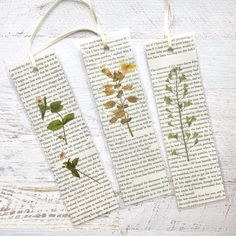 Made from pressed California wildflowers and pages fro Jane Austen Romantic Pressed Flower Bookmarks. Made from pressed California wildflowers and pages fr Creative Bookmarks, Diy Bookmarks, How To Make Bookmarks, Homemade Bookmarks, Bookmark Ideas, Felt Bookmark, Bookmark Craft, Vintage Bookmarks, Corner Bookmarks