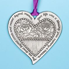 "A beautiful sympathy keepsake ornament with the heartfelt message: ""Your life was a blessing, your memory a treasure, You are loved beyond words and missed beyond measure."" #Sympathy"