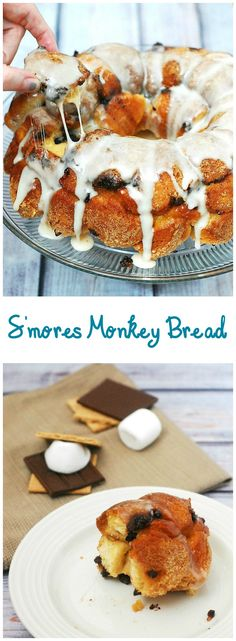 Nothing says summer snack likes s'mores monkey bread! Little balls of sweet bread are coated in graham cracker crumbs and baked with layers of chocolate and marshmallow. #TwelveLoaves theredheadbaker.com