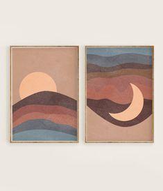 Sun and Moon Print Set van 2 Brown Blue Abstract Landscape Diy Wall Art, Nursery Wall Art, Moon Nursery, Moon Print, Blue Abstract, Abstract Wall Art, Illustration Art, Girl Illustrations, Art Projects