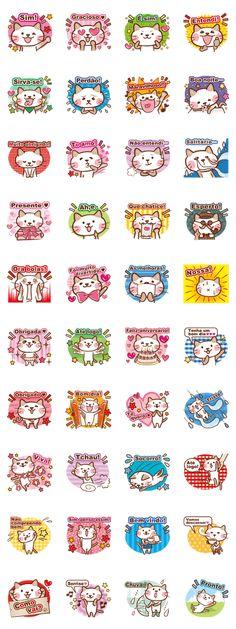 Gato fofo!Portuguese version.Hand-painted style cat!Everyday sticker.Gato atraente.Stickers de criadores.Brasil and Portugal.