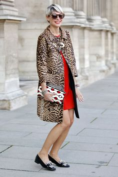 #ElisaNalin in Paris. fire engine red dress w/ leopard coat and black patent shoes. gotta try this combo!