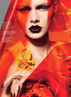 Harper's Bazaar Singapore, December 2010 Hair and Makeup: Marc Teng Styling: Alli Sim Nails: Minx Nails Sexy alternate bride with an orange veil and dark almost black lipstick with intense…