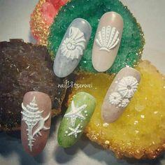 58 Hottest Beach Nail Ideas Designs for Summer 3d Nail Art, Cool Nail Art, Art 3d, Fabulous Nails, Perfect Nails, Seashell Nails, Sea Nails, Nagellack Design, Nailart