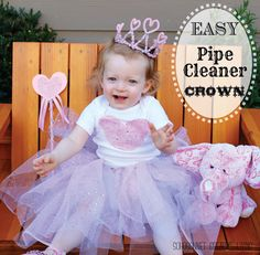 Easy Pipe cleaner crown  Valentine Tutu Heart Toddler outfit tutorial - Sohosonnet Creative Living