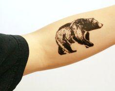 NATURETATS - Bear Temporary Tattoo, Black Ink, Forest Animal Tattoo, Nature Tattoo