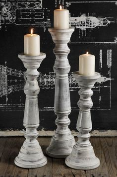 Wood Pillar Candle Holder White (Set of 3) 18 x 4.5 and you get three for the price of one from the Barn.