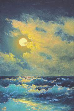 263  Moonrise  5x 7 original canvas giclee by vladimirmesheryakov
