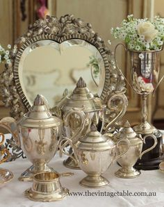 art deco silver tea sets, vintage silver trophy and antique silver Victorian heart shape mirror│The Vintage Table - FB Silver Trays, Silver Spoons, Silver Table, Silver Plate, Tea Sets Vintage, Vintage Table, Vintage Silver, Antique Silver, Silver Tea Set