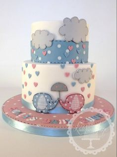 Neutral Baby Shower Cake with Elephants and Umbrella Theme Cute Cakes, Pretty Cakes, Beautiful Cakes, Amazing Cakes, Baby Cakes, Cupcake Cakes, Torta Baby Shower, Baby Shower Cakes Neutral, Twin Baby Shower Cake