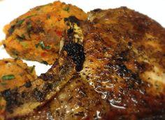 Yummy thyme pork chop with sweet potato, onion and kale cakes.  Gluten-free, Paleo, Alkaline lifestyle.