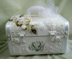 Bridal Memory Train Case - Handpainted - whites and creams - Vintage and Repurposed Antique. $125.00, via Etsy.