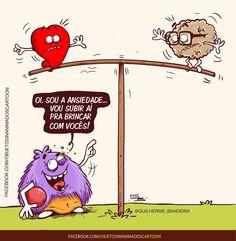"7,480 curtidas, 164 comentários - Guilherme Bandeira (@guilherme_bandeira) no Instagram: ""Olha elaaa!  #ansiedade #olhaelaa #razaovsemocao #razao #emocao #coracao #cerebro #quadrinhos…"" Funny Quotes, Funny Memes, Hilarious, Heart Vs Mind, Little Bit, Sad Life, Simple Words, Funny Cartoons, Good Thoughts"