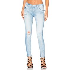 Hudson Jeans Lilly Mid Rise Ankle Skinny ($130) ❤ liked on Polyvore featuring jeans, bottoms, faded jeans, faded skinny jeans, ripped jeans, frayed jeans and distressed jeans