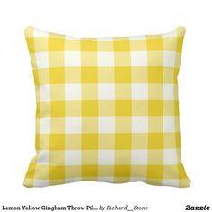 Lemon Yellow Gingham Throw Pillow