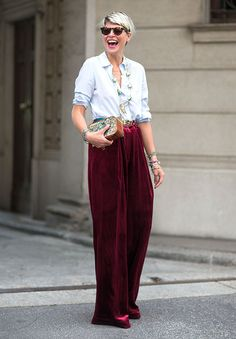 Street Style: love these LARGE velvet pants