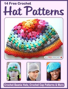 14 Free Crochet Hat Patterns: Crochet Beanie Hats, Crochet Cap Patterns, and More - this free pattern collection has a variety of hats to suit your needs!