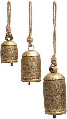 Uma Enterprises Set Of 3 Charm Metal Bells Unique Garden Gifts, Wood Initials, Elephant Sculpture, Ceramic Birds, Leaf Design, Decorative Bells, Decorative Accents, Wind Chimes, Tinkerbell