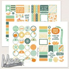 Tangerine Fresh start stickers,January planner stickers,Printable decorative planner stickers,1 in circle stickers,weekly/monthly kit by MeeDigiScrap on Etsy